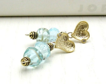 Aquamarine Lampwork Gold Heart Post Stud Earrings, Minimalist Beaded for Her Under 100 Wife Friend Mom Gift OOAK