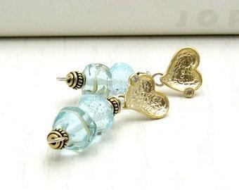 Aquamarine Lampwork Gold Heart Post Stud Earrings, Minimalist Beaded for Her Under 100 Wife Friend Mom Gift OOAK