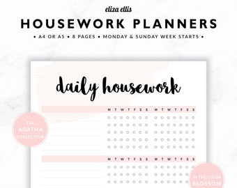 HOUSEWORK PLANNERS / Home Organizer / 2018 Planner / Home Planner / Home Organization / Organizer / The Agatha Planners in Blossom / 422