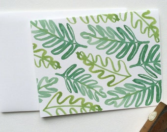 Green Pattern Palm Leaves Note Cards