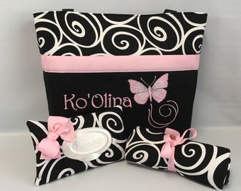 BUTTERFLY  ... Diaper Bag SET ... Wipe Cover ... Changing Pad