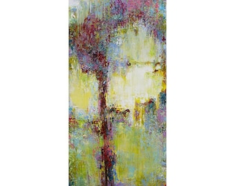 "36"" x 72"" Large Original abstract oil painting, Abstract Wall Art, Tree Painting, Contemporary Art, Large wall Art, Decor, Green Purple"