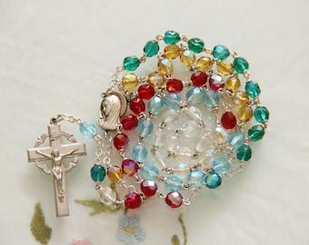 Vintage Multi-Color Glass Beads Pardon Crucifix Catholic Rosary
