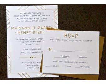 Geometrische Hochzeit Einladung - einfache geometrische laden - Metallic - Rahmen Hochzeitseinladung - Modern mit Jahrgang Flare-Hochzeit