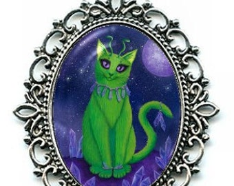 Alien Cat Necklace Space Cat Art Purple Crystals Cameo Pendant Silver Cat Necklace 40x30mm Gift for Cat Lovers Jewelry