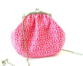 Small frame crossbody bag, pink frame purse, sling bag with long chain, silver purse frame, cross body purse