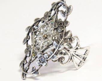 Art Nouveau floral ring, Art Nouveau ring, Victorian ring, silver flowers, adjustable ring, Art Nouveau jewelry, silver filigree, dress ring