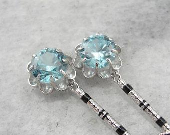 Wedding Day Blue Zircon Drop Earrings JTTPFH-R