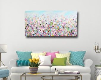 Delightful Large Panoramic Canvas Art, Floral Wall Art, Pink And Blue Abstract Meadow  Print,