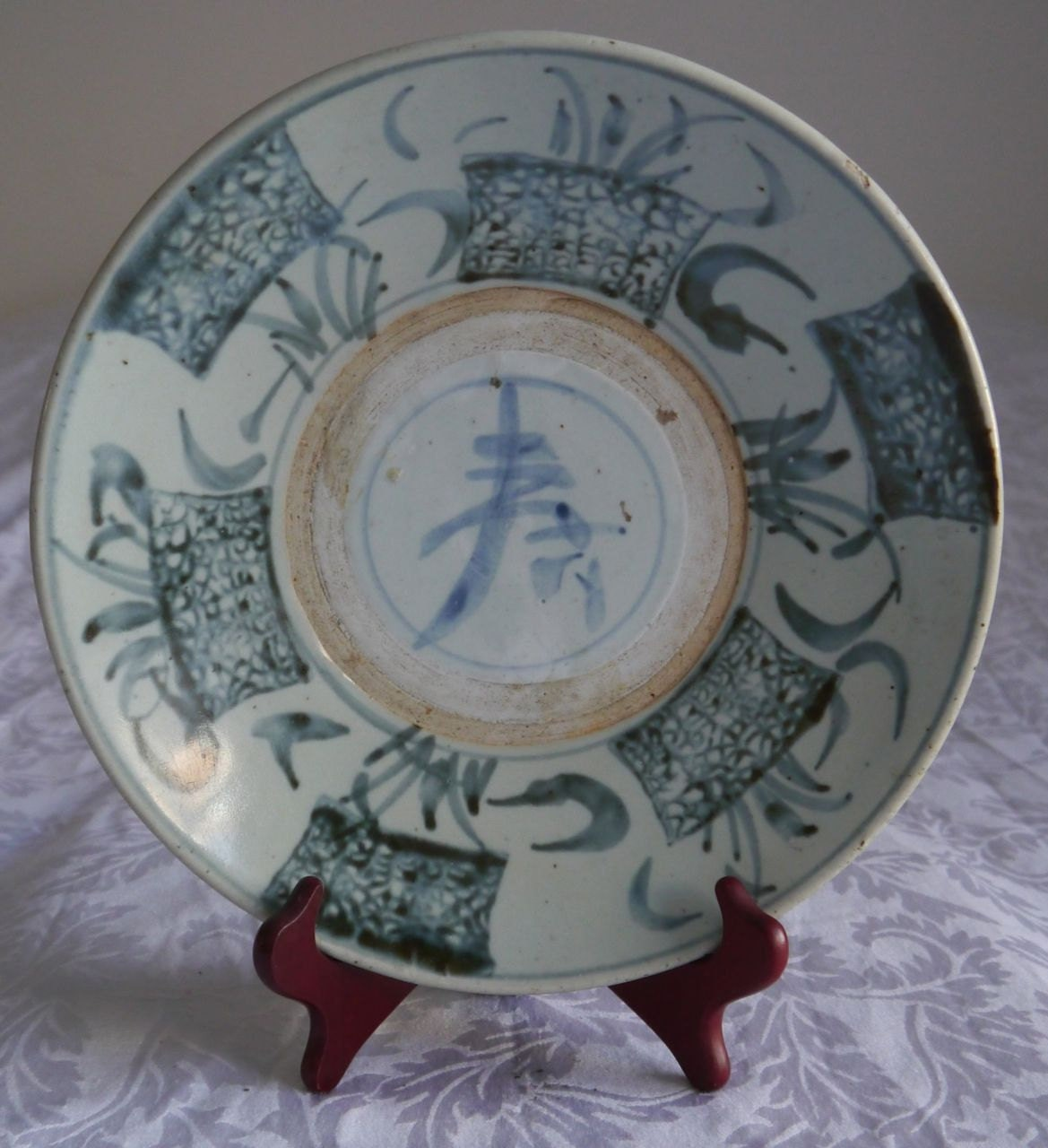 🔎zoom & Antique 16th Century Chinese Large Blue White Provincial Ming