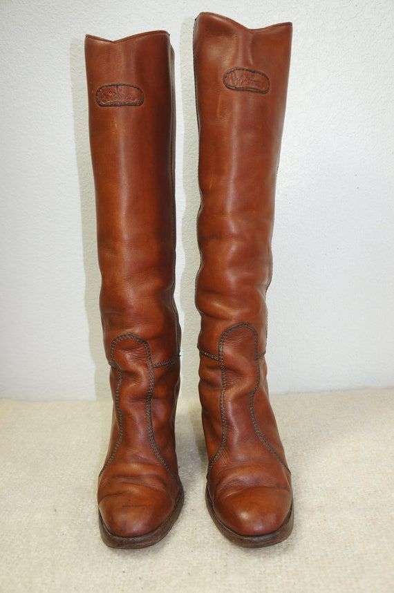 Boot Boots 7 70s Boho Heel 70s Hippie Frye Brown Tall Imported Stacked Penny Lane Oiled Tall Leather Boot Leather Vng Campus Sz like wXqFTx