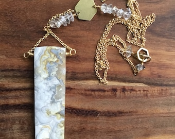 Crazy lace agate and brass necklace