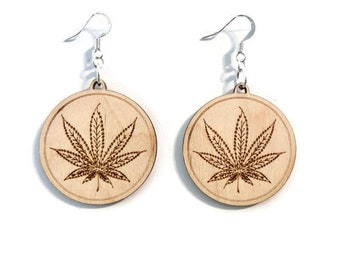 Cannabis earrings wood silver plated loops engraved handmade wooden gift for her stoner gifts weed marijuana handmade cannabis jewelry
