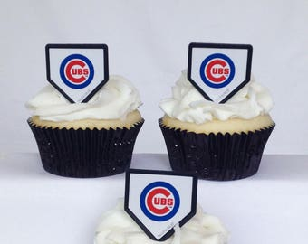 12 Chicago Cubs Cupcake Rings MLB Baseball Toppers Party Favors