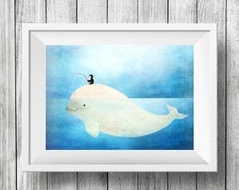 Fishing with a Beluga, Nursery Animal Wall Art, Kids Room, Ocean, Animals, Penguin, Print