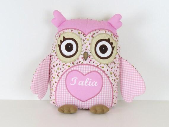 Baby Owl, Romantic Roses Owl  Pillow, Monogram Pillow,  Nursery Decor,  pink roses