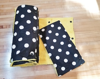 Un Paper Towel, 18 Towels, Large Black and White Polka Dot on Yellow Microfiber, Convenient Select a Size, Re-Usable Towels, MarjorieMae