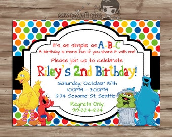 Sesame Street Birthday Invitation, Sesame Street Invitation, Sesame Street Invite, Elmo, Cookie Monster,  Digital Printable, JPG File