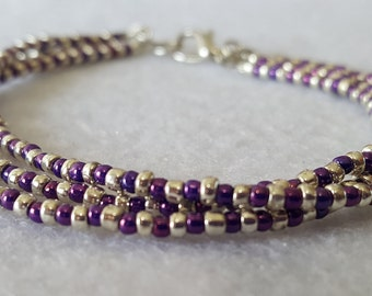 3 Strand Purple and Silver Seed Bead Bracelet