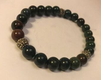 Bloodstone and steel beaded bracelet