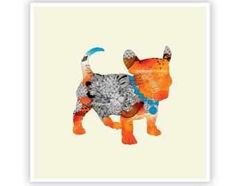Puppy Frenchie by Iveta Abolina -  Floral Illustration Print