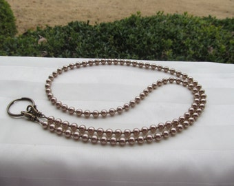 Bronze Pearl ID Badge Lanyard Swarovski Pearl Bead Lanyard Necklace ID Badge Holder