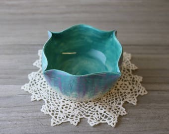 Pinched Turquoise and Fuchsia Bowl (Small)
