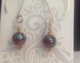 Earrings with lamp work bead