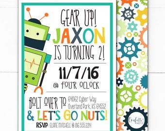 Robot Party Invitation - Robot Invite - Robot Party - Robot Birthday - Robot 1st Birthday - Instant Download - Printable - Robot Theme