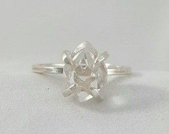 NEW Stone Options! Solitaire Ring-Herkimer Diamond Quartz Crystal- Sterling Silver