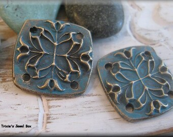Handmade Solid Bronze Connectors/Earring Components - Denim Blue Patina!