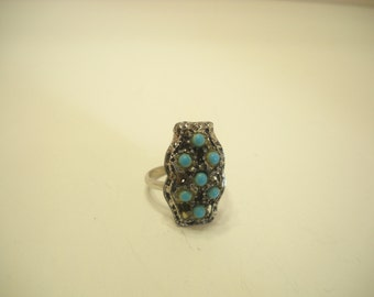 Vintage Faux Turquoise Adjustable Ring (8999)