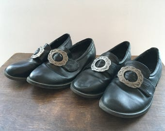 Black Leather Shoes Norwegian Bunad Children's Shoes with Metal Buckle Boys Girls Norwegian Traditional Costumes Size EUR 33 and 35