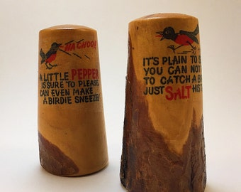 Wooden Novelty Salt and Pepper Shakers