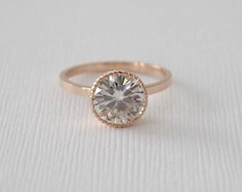 Forever One Round Moissanite Engraved Bezel Ring in 14K Rose Gold