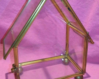 Small vintage house shaped glass and metal ( brass like/gold tone) display box.