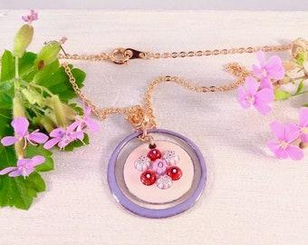 "Lightweight pendant in ENAMELS on copper ""bonfire"", floral pattern"
