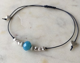 Blue faceted glass bead & silver minimal bracelet • dark blue cord • Hoxton range • dainty •colourful • fully adjustable