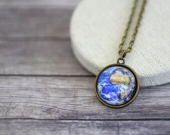 Earth Necklace, Solar System Necklace, Africa Necklace, Planet Necklace, Solar System Jewelry, Planet Jewelry, Space Necklace, Galaxy