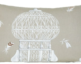 Bird Cage Cushion Cover Toffee Decorative Throw Pillow Case Decorative Printed Cotton Fabric