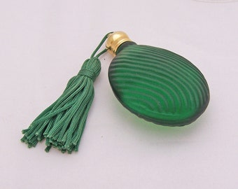 Vintage Satin Dark Green Glass Perfume Bottle, Perfume Bottle with Tassel, UK Seller