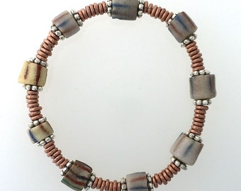 Bracelet Antique Sand Cast Beads from Ghana With Kenya Copper Hishi  6 1/2 Inches to 7 inches