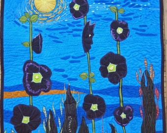 Wall Hanging Art Quilt Black Hibiscus From My Garden Blue Midnight Black Gold Green Lavender Flowers