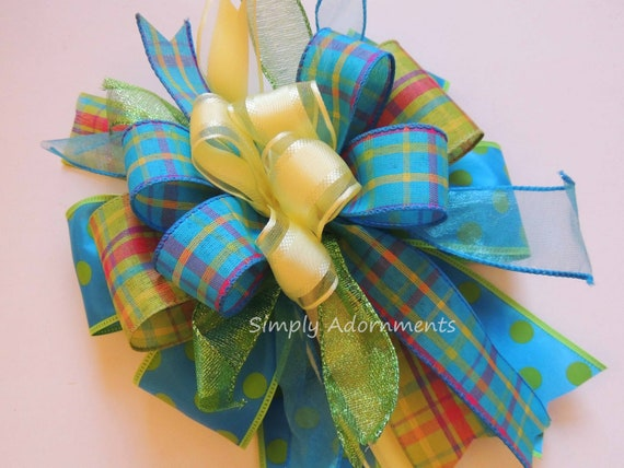 Whimsical Mother's day Gift Bow Turquoise lime Yellow Spring Wreath Bow Turquoise Lime Yellow Lantern Swag bow Spring Plaid Door Hanger Bow