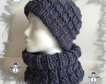 Hat and snood matching choker, all men, women, teens, warm and cozy soft winter wool, blue jean