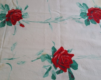 TC023 ~ Wilendur tablecloth Red roses American Beauty pattern Vintage tablecloth
