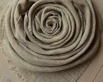 Textured Natural LINEN Scarf, Taupe scarf, Eco Scarf, Men Scarf, Women Scarf