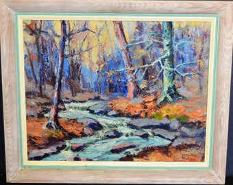 """Original George King Landscape Oil Painting Stream Signed & Dated 1946 24"""" x 20"""""""