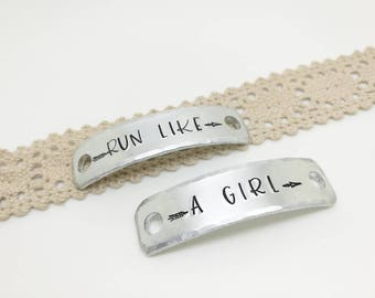 Trainer Tags, Run like a girl, Custom stamped Sneaker Tags, Gift for Runner,  Trainer Accessories, Running Shoe Tag, Marathon gift,