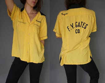 1950s Hilton Chain Stitch Bowling Shirt || Button Up Work Shirt Yellow Black || F.Y. Gates Co. ||